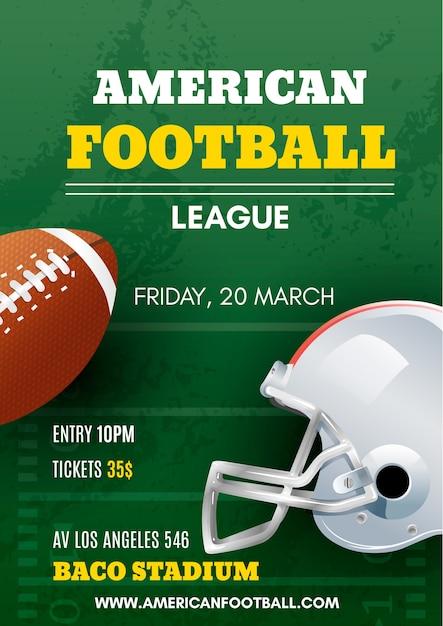 Poster di football americano con palla e casco Vettore gratuito