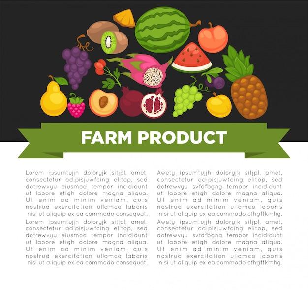 Poster di frutta biologica di cibo sano e bacche di fattoria. Vettore Premium