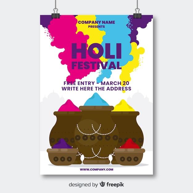 Poster di gulal pot holi party Vettore gratuito