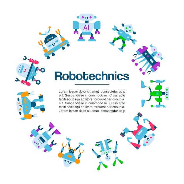Poster di icone giocattoli robot. tecnologia della macchina robotizzata. personaggi dei cartoni animati di robocop. intelligenza robotica Vettore Premium