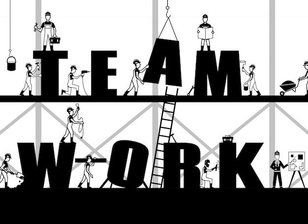Poster di lavoro di squadra di costruzione Vettore gratuito
