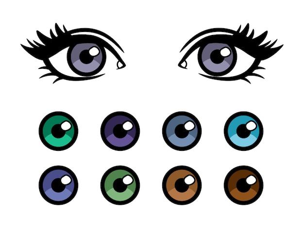 Poster di lenti a contatto a colori con occhi femminili Vettore Premium