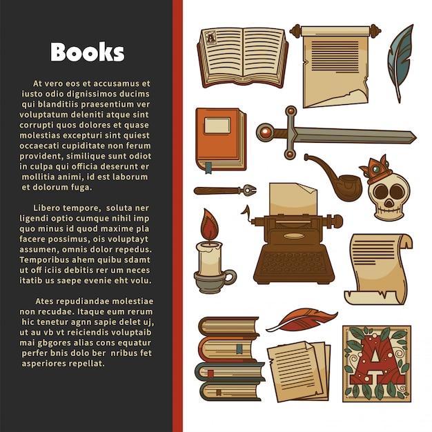 Poster di letteratura Vettore Premium