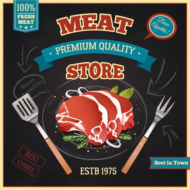 Poster di meat store Vettore gratuito