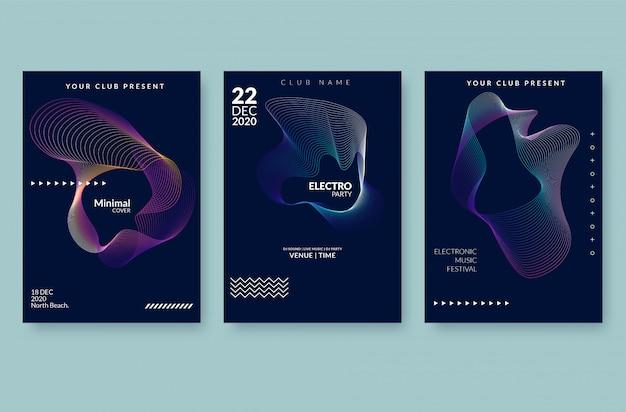 Poster di musica d'onda volantino sonoro con onde linea astratta sfumata. Vettore Premium