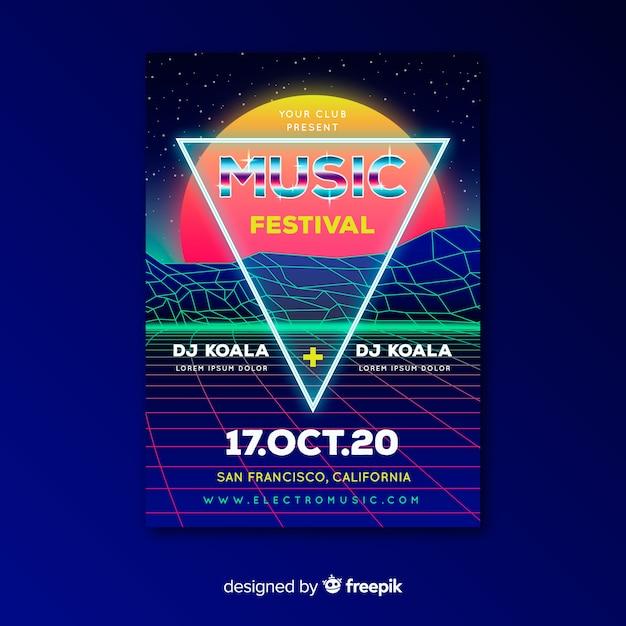 Poster di musica futuristica retrò modello Vettore gratuito