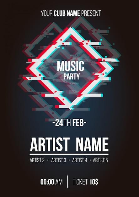 Poster di musica moderna con forme glitch Vettore gratuito