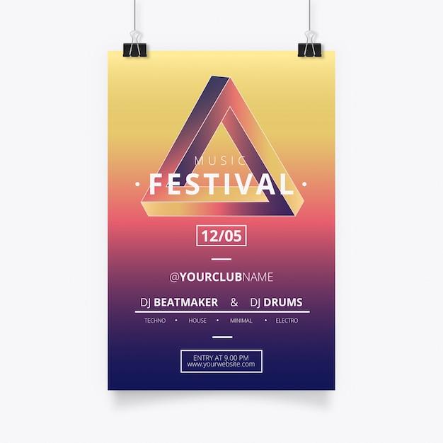 Poster di musica moderna con triangolo di penrose Vettore gratuito
