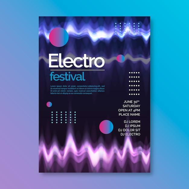 Poster di musica onda astratta modello Vettore gratuito