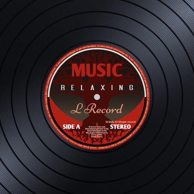 Poster di musica retrò etichetta discografica Vettore Premium