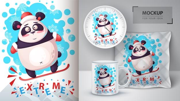 Poster di panda snowboard e merchandising Vettore Premium