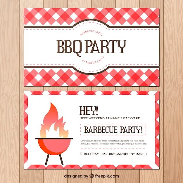 Poster di partito barbecue in design piatto Vettore gratuito