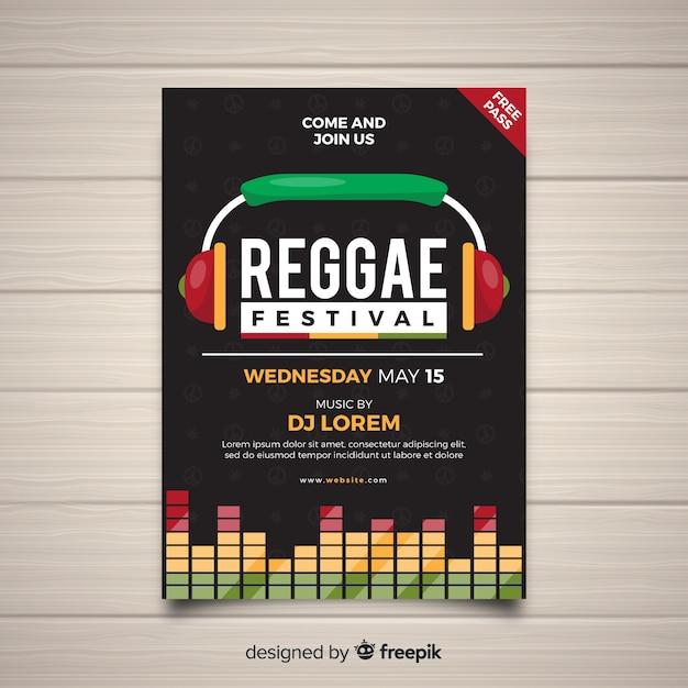 Poster di partito colorato reggae con design piatto Vettore gratuito