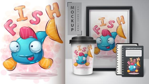 Poster di pesce carino e merchandising Vettore Premium