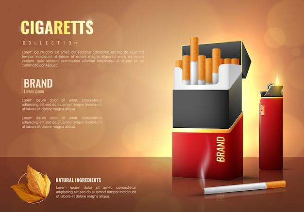 Poster di prodotti del tabacco Vettore gratuito