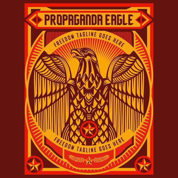 Poster di propaganda di aquila Vettore Premium