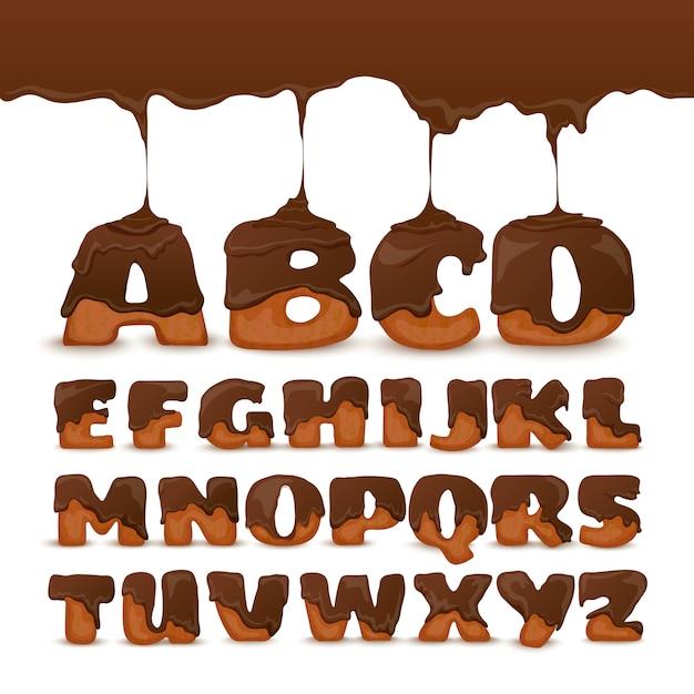 Poster di raccolta di biscotti di alfabeto di cioccolato di fusione Vettore gratuito