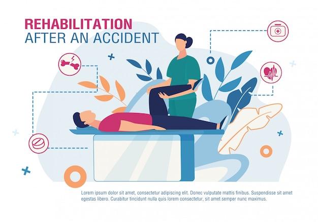 Poster di riabilitazione dopo incidente Vettore Premium