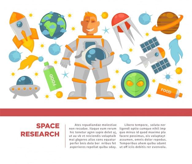 Poster di ricerca e esplorazione spaziale Vettore Premium