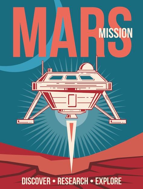 Poster di ricerca spaziale. astronave che atterra al fondo dell'annata di marte. Vettore Premium