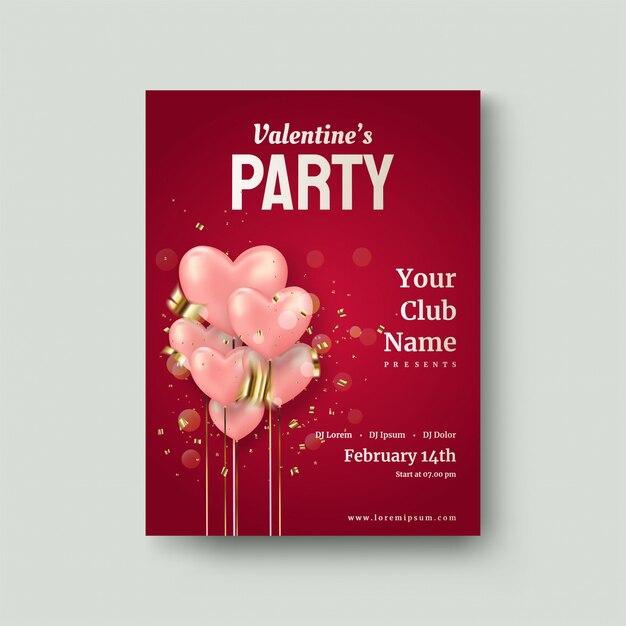 Poster di san valentino con palloncini rosa amore Vettore Premium