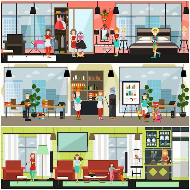 Poster di servizi di pulizia della casa e dell'ufficio, set di banner Vettore Premium