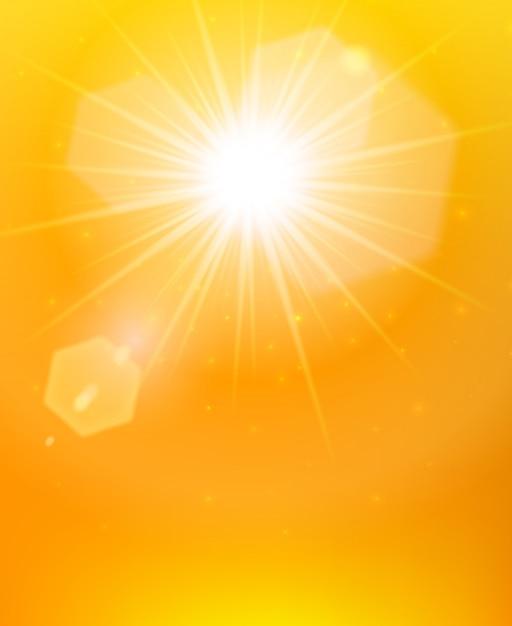 Poster di sfondo arancione del sole Vettore gratuito