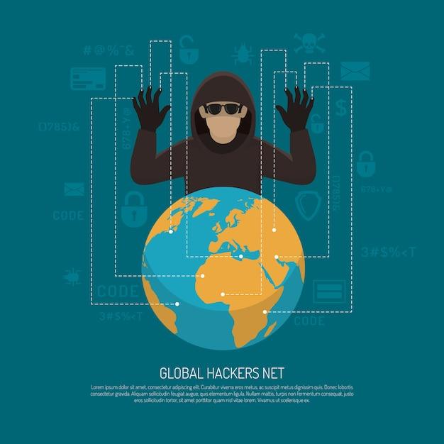 Poster di sfondo simbolico netto hacker globale Vettore gratuito