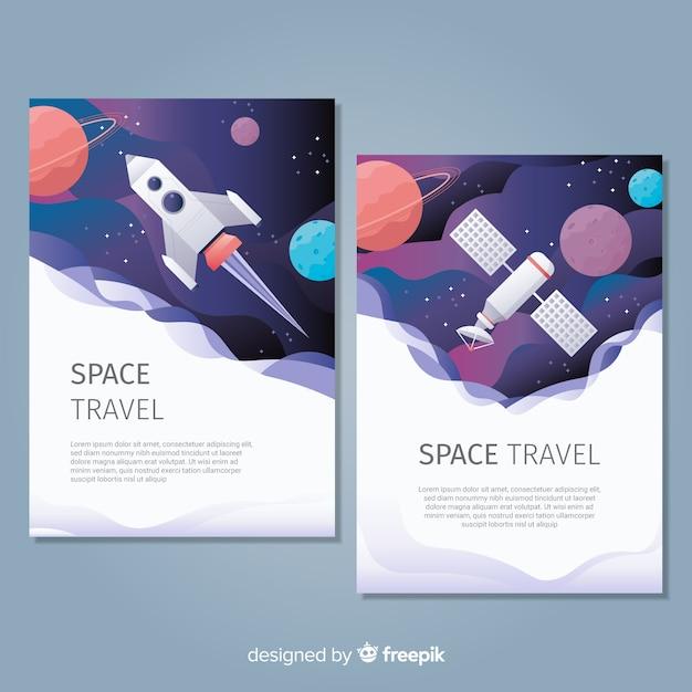 Poster di spazio esterno disegnato a mano Vettore gratuito