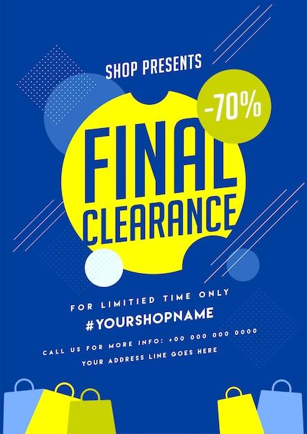 Poster di svendita finale con offerte speciali. Vettore Premium