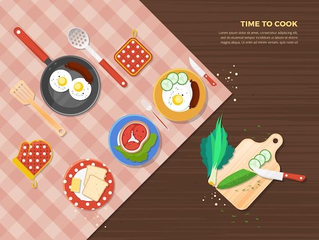 Poster di time to cook Vettore gratuito
