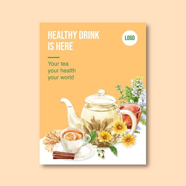 Poster di tisana con melissa, limone, crisantemo illustrazione dell'acquerello. Vettore gratuito