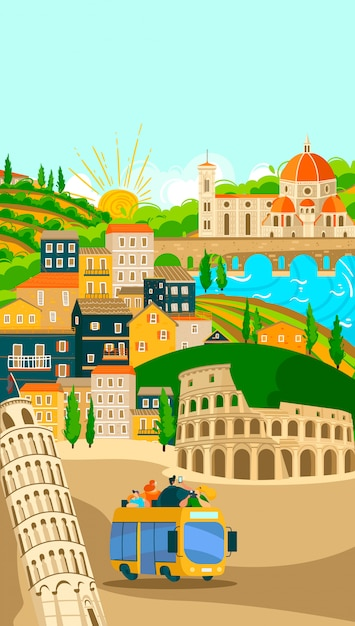 Poster di tour in autobus delle città italiane, turismo in vacanza illustrazione dei simboli e punti di riferimento famosi della città italiana. roma. Vettore Premium