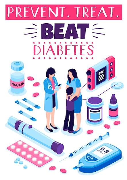 Poster di trattamento di prevenzione del diabete Vettore gratuito
