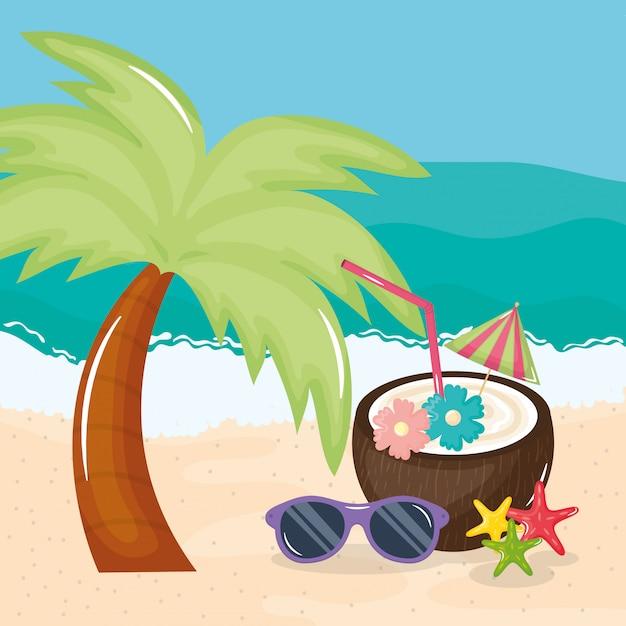 Poster di vacanze estive con cocktail di cocco Vettore Premium