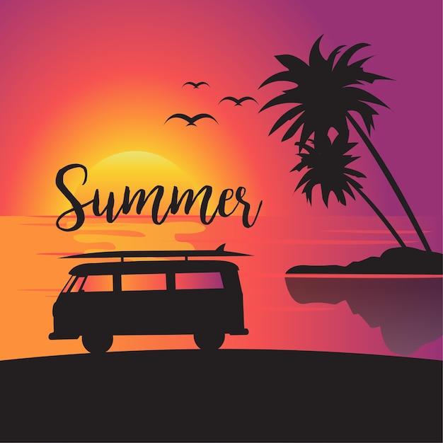 Poster di vacanze estive Vettore Premium