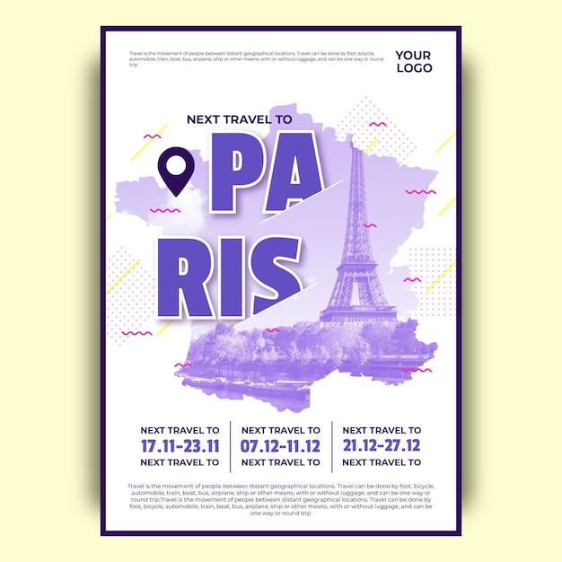Poster di viaggio colorato di parigi Vettore gratuito
