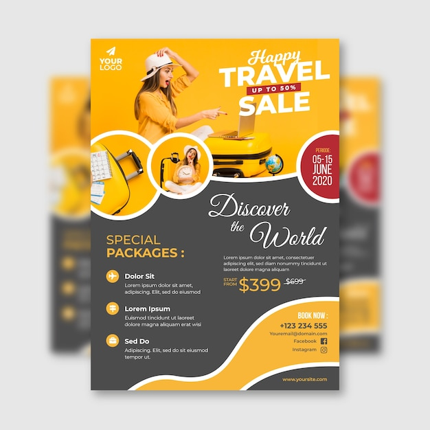 Poster di viaggio con foto Vettore gratuito