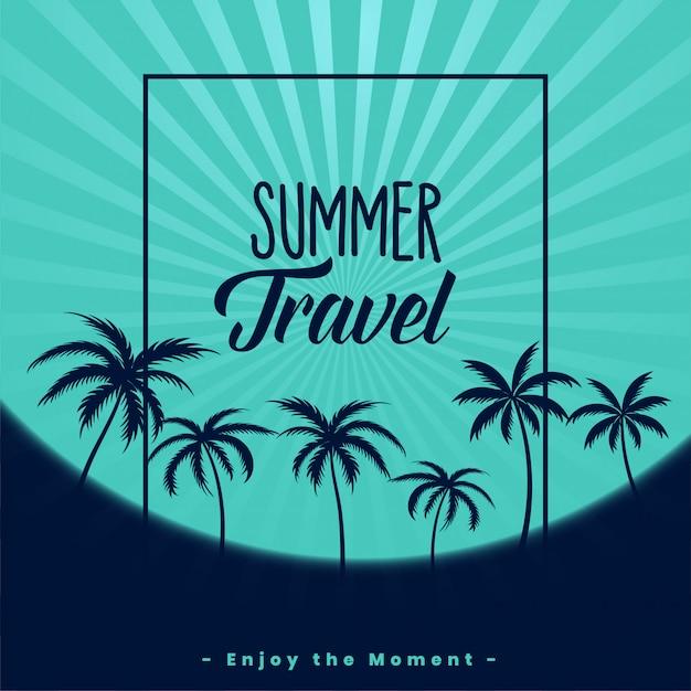 Poster di viaggio estivo con palme Vettore gratuito