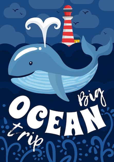 Poster di viaggio sull'oceano Vettore Premium