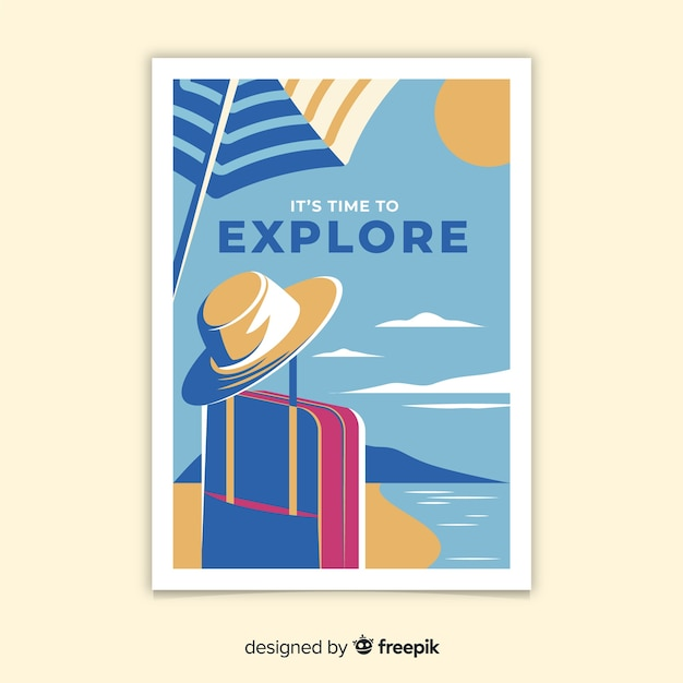 Poster di viaggio vintage design piatto Vettore gratuito