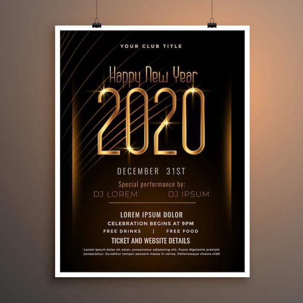 Poster di volantino festa di capodanno 2020 nei colori nero e oro Vettore gratuito