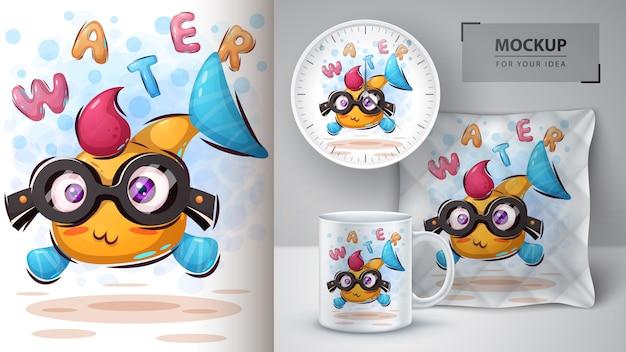 Poster e merchandising di pesci divertenti Vettore Premium