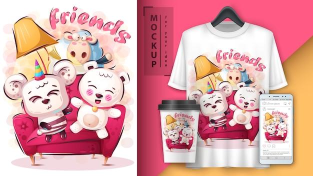 Poster e merchandising di simpatici amici Vettore Premium