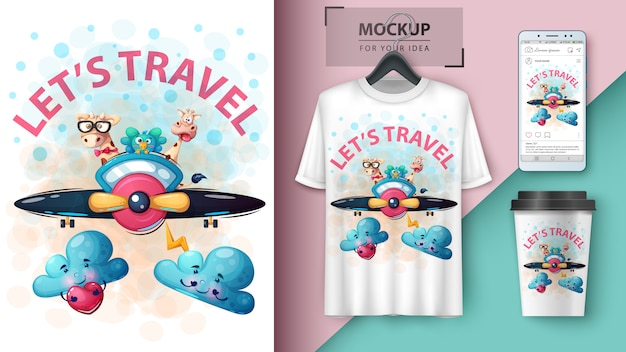 Poster e merchandising di viaggio degli animali del fumetto Vettore Premium