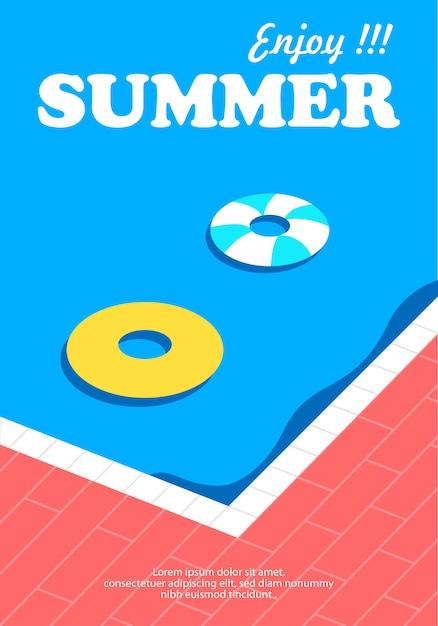 Poster estivo e banner con sfondo piscina Vettore Premium