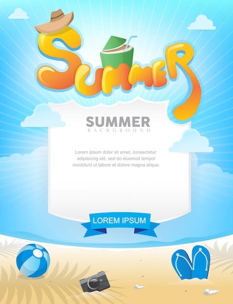 Poster estivo sulla spiaggia Vettore Premium