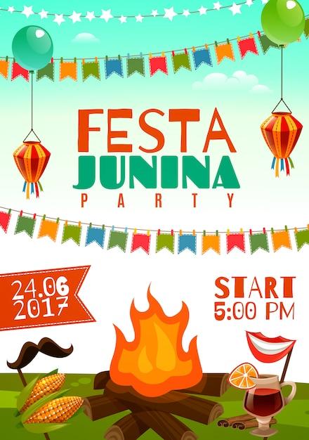 Poster festa junina Vettore gratuito