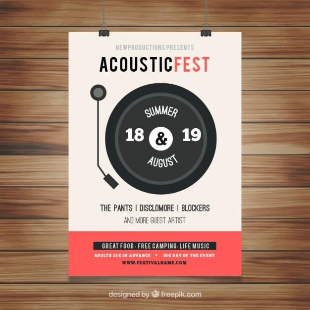 Poster festival acoustic Vettore gratuito