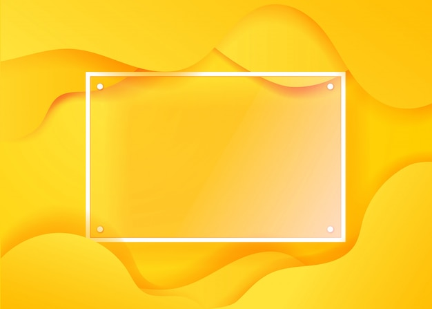 Poster fluido creativo con cornice in vetro trasparente per un testo. modello di vettore per il web, stampa, rivista, atterraggio, festa, design promozionale Vettore Premium